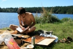 Letter writing day by the lake! So fun, and the sun is out for my journey here!