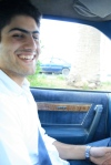 Mostafa driving me to one of the many places he drove me to!