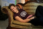 Chillin on the couch with a sweet Madison Bike t-shirt Pam brought over for me!