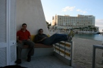 Ahmed and Ibrahim, chillin in his little beach chalet.