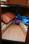 The V-Berth, in the bow of the boat, where we sleep. Even 6ft 4 charlie JUST fits...